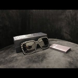 PRADA Black 56Mm Studded Square-frame Sunglasses